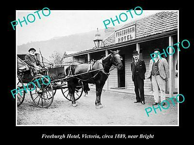 OLD LARGE HISTORICAL PHOTO OF FREEBURGH VICTORIA, VIEW OF THE HOTEL c1889
