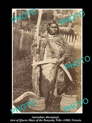 OLD LARGE HISTORIC PHOTO OF ABORIGINAL, QUEEN MARY OF THE BUNYONG TRIBE c1880