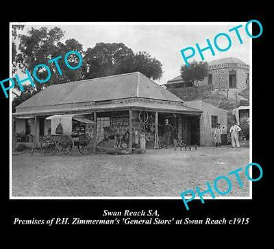 OLD LARGE HISTORICAL PHOTO OF SWAN REACH S.A, ZIMMERMANS GENERAL STORE c1915