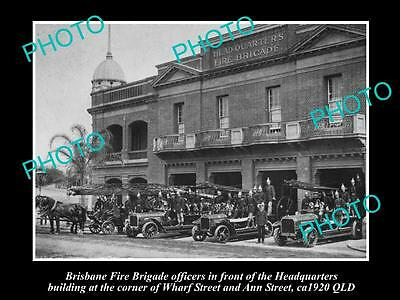 OLD LARGE HISTORIC PHOTO OF THE BRISBANE FIRE BRIGADE HEADQUARTERS, ANN St c1920