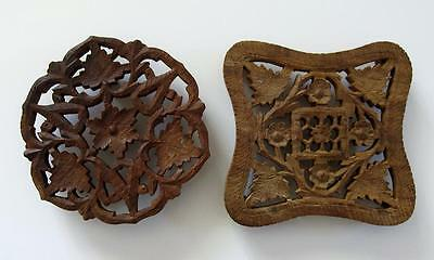 Pair Of Vintage Hand-Carved Wooden Trivets