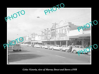 OLD LARGE HISTORIC PHOTO OF COLAC VICTORIA, VIEW OF MURRAY St & STORES c1958