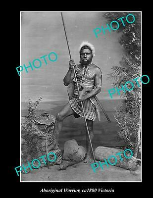 OLD LARGE HISTORIC PHOTO OF ABORIGINAL, YOUNG WARRIOR IN HEAD DRESS c1880