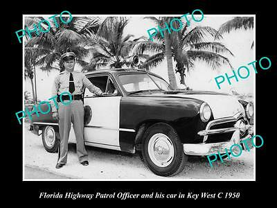 OLD LARGE HISTORIC PHOTO OF FLORIDA HIGHWAY PATROL OFFICER & CAR, KEY WEST c1950