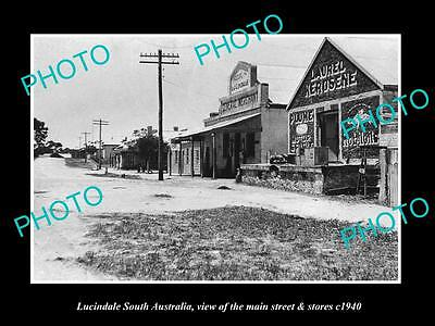 OLD LARGE HISTORIC PHOTO OF LUCINDALE SOUTH AUSTRALIA, THE MAIN St & STORES 1940