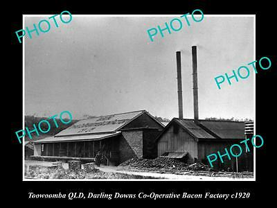 OLD LARGE HISTORIC PHOTO OF TOOWOOMBA QLD, THE DARLING DOWNS BACON FACTORY c1920