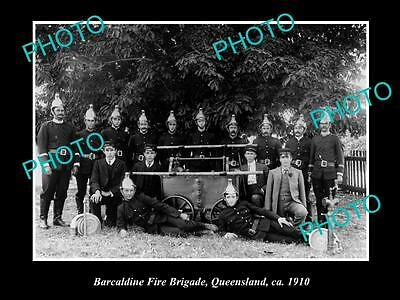 OLD LARGE HISTORIC PHOTO OF BARCALDINE QLD, THE TOWNS FIRE BRIGADE CREW c1910