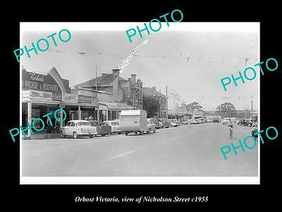 OLD LARGE HISTORIC PHOTO OF ORBOST VICTORIA, VIEW OF NICHOLSON St & SHOPS c1955