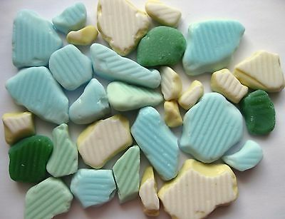 Beach Sea Milk Glass Pastel Colors 30 Pc Authentic Collectible Jewelry Crafts