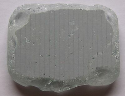 Beach Sea Glass Painted Rectangle 1 Pc Clear Gray Striped Authentic Collectible
