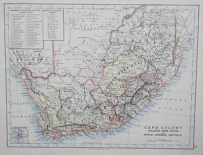 Map of South Africa. 1892. original. Cape Colony. W&AK Johnston