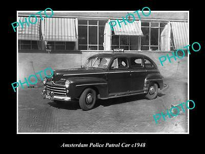 OLD LARGE HISTORIC PHOTO OF AMSTERDAM POLICE PATROL CAR c1948