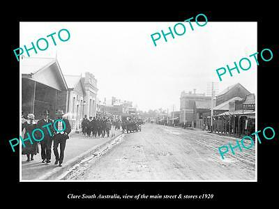 OLD LARGE HISTORIC PHOTO OF CLARE SOUTH AUSTRALIA, THE MAIN St & STORES c1920