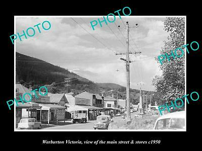 OLD LARGE HISTORIC PHOTO OF WARBURTON VICTORIA, THE MAIN St & STORES c1960 2