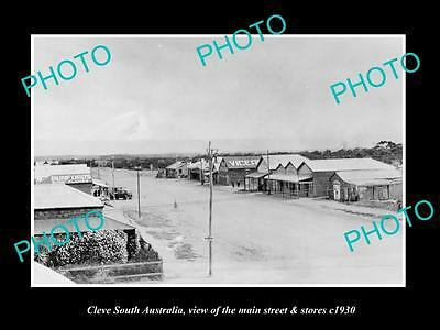 OLD LARGE HISTORIC PHOTO OF CLEVE SOUTH AUSTRALIA, THE MAIN St & STORES c1930