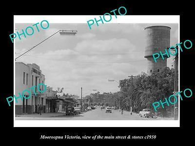 OLD LARGE HISTORIC PHOTO OF MOOROOPNA VICTORIA, THE MAIN St & STORES c1950