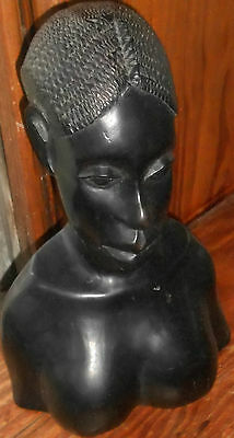 "AFRICAN WOMAN CARVED SOLID EBONY BUST HEAD Approx. 10"" Tall Nude Breasts"