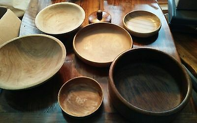 Lot of 6 Antique Primitive, exotic, american, New zealand, Country Wooden Bowls.