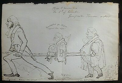 c.1842 Humorous Caricature Drawing of London Police Court Barristers & Judge