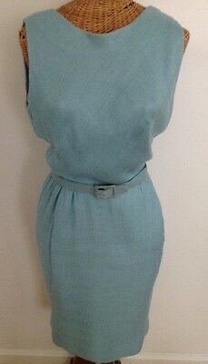 Vintage 60s Harvey Berin Fitted Dress With Jacket Aqua Blue Silk Lined XS