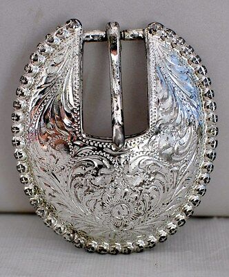 Women's Silver Plated Pewter Oval Shaped Belt Buckle