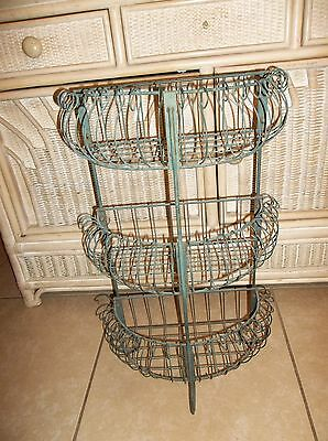Vintage Green Metal Ivy 3 Shelf Plant Stand Bathroom Toiletries 24""