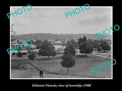 OLD LARGE HISTORIC PHOTO OF GISBORNE VICTORIA, VIEW OF THE TOWNSHIP c1900