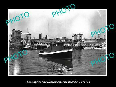 OLD HISTORIC PHOTO OF LOS ANGELES FIRE DEPARTMENT, FIRE BOAT No 1 c1940 2