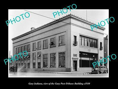 Old Large Historic Photo Of Gary Indiana, View Of The Post Tribune Building 1930