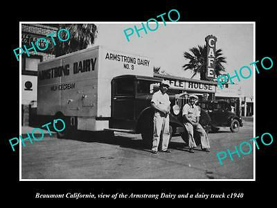OLD LARGE HISTORIC PHOTO OF BEAUMONT CALIFORNIA, ARMSTRONG DAIRY TRUCK c1940 1