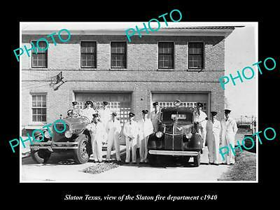 OLD LARGE HISTORIC PHOTO OF SLATON TEXAS, VIEW OF THE FIRE DEPARTMENT c1940