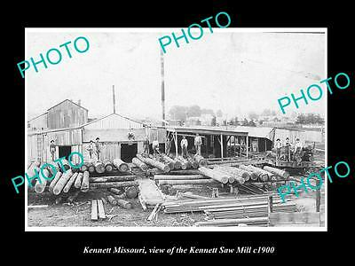 OLD LARGE HISTORIC PHOTO OF KENNETT MISSOURI, VIEW OF THE KENNET SAW MILL c1900