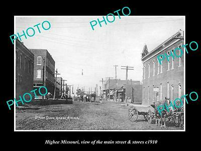 OLD LARGE HISTORIC PHOTO OF HIGBEE MISSOURI, THE MAIN STREET & STORES c1910 1