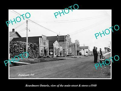 OLD LARGE HISTORIC PHOTO OF BEARDMORE ONTARIO, THE MAIN STREET & STORES c1940