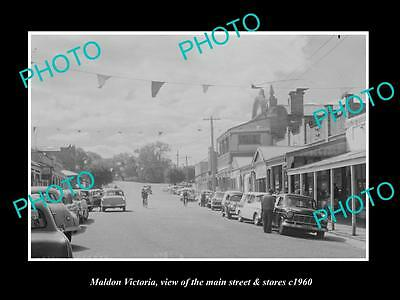 OLD LARGE HISTORIC PHOTO OF MALDON VICTORIA, THE MAIN St & STORES c1960