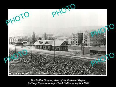 OLD LARGE HISTORIC PHOTO OF THE DALLES OREGON, RAILROAD DEPOT & HOTEL c1900