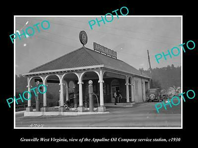 OLD LARGE HISTORIC PHOTO OF GRANVILLE WEST VIRGINIA, APPALINE OIL STATION c1930