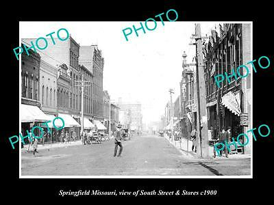 OLD LARGE HISTORIC PHOTO OF SPRINGFIELD MISSOURI, VIEW OF SOUTH St & STORES 1900