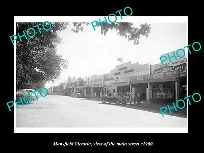 OLD LARGE HISTORIC PHOTO OF MANSFIELD VICTORIA, THE MAIN St & STORES c1960