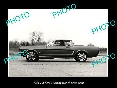 Old Large Historic Photo Of 1964 Ford Mustang 1/2 Car Launch Press Photo 1