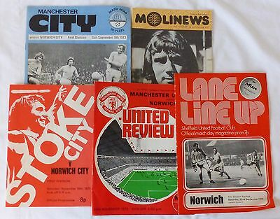 Six Norwich City football programmes 1973 away matches