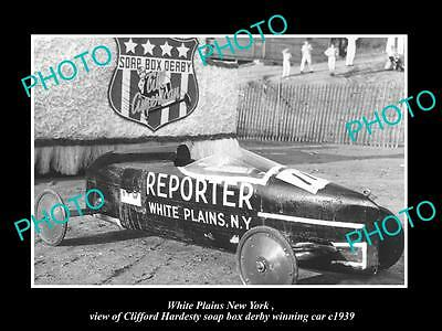 Old Large Historic Photo Of White Plains New York, 1939 Soap Box Derby Champion