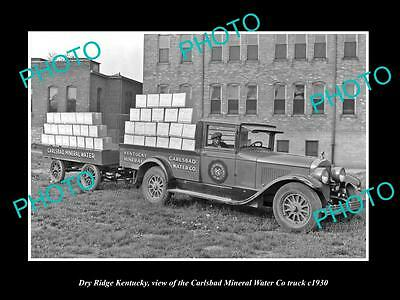 OLD LARGE HISTORIC PHOTO OF DRY RIDGE KENTUCKY, THE CARLSBAD WATER Co TRUCK 1930