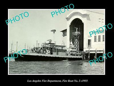 OLD HISTORIC PHOTO OF LOS ANGELES FIRE DEPARTMENT, FIRE BOAT No 2 TERMINAL c1955