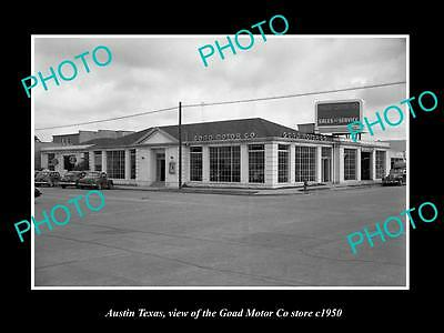 OLD LARGE HISTORIC PHOTO OF AUSTIN TEXAS, THE GOAD MOTOR Co STORE c1950