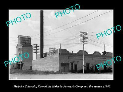 OLD LARGE HISTORIC PHOTO OF HOLYOKE COLORADO, FARMERS CO-OP & FIRE HALL c1940