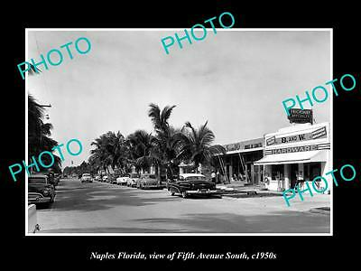 OLD LARGE HISTORIC PHOTO OF NAPLES FLORIA, VIEW OF THE 5th AVE & STORES c1950