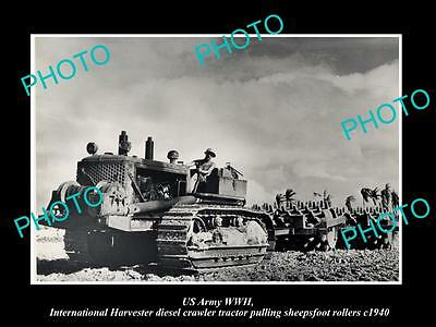 OLD HISTORIC PHOTO OF US ARMY WWII INTERNATIONAL HARVESTER TRACTOR AT WORK c1940