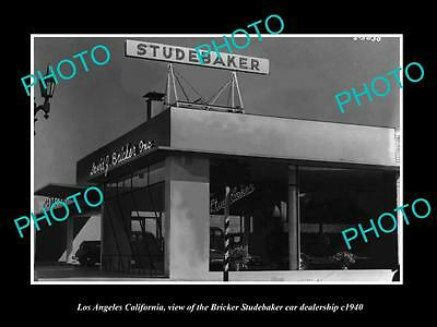OLD LARGE HISTORIC PHOTO OF LOS ANGELES CA, THE STUDEBAKER CAR DEALERSHIP c1940