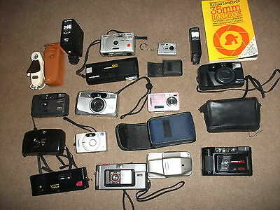 Job Lot Of Cameras And Equipment Some Digital & Old Vintage Types From Clearance